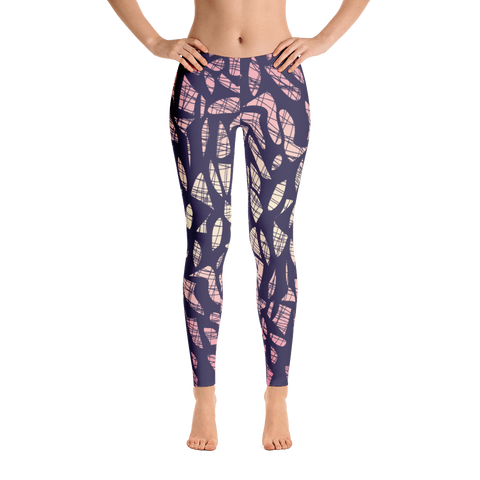 Pink geo web mid rise leggings front view
