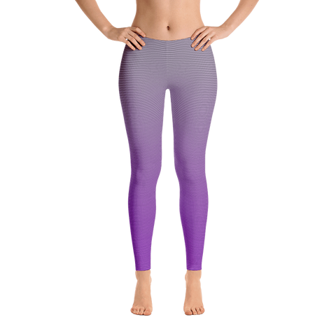 purple gray ombre mid rise leggings front view