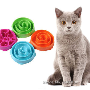 1Pc Pet Cat Interactive Slow Food Bowl