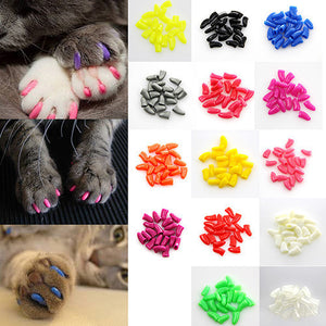 New 20Pcs/Lot Colorful Soft Cats Paw Claws Nail Caps