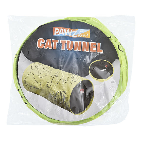 Cat Printed Green Lovely Crinkly Kitten Tunnel Toy
