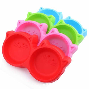 Cat Food Double Bowl Tableware Pet FeedingTool