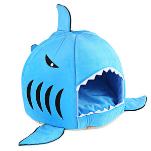 Cartoon Shark Pet Washable Cat Soft Bed