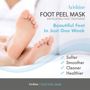 Ariseshine Foot peel mask exfoliates and promotes removal of the dead skin and calluses during 3-7 days