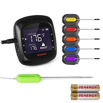 Tenergy Solis Digital Meat Thermometer, App Controlled Wireless Bluetooth Smart Bbq Thermometer W/ 6 Stainless Steel Probes, Large Lcd Display, Carrying Case, Cooking Thermometer For Grill &Amp; Smoker