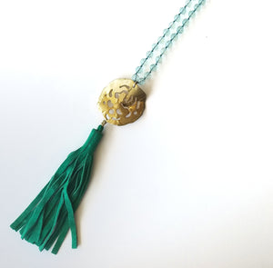 Gold Necklace Melted Aqua Waves
