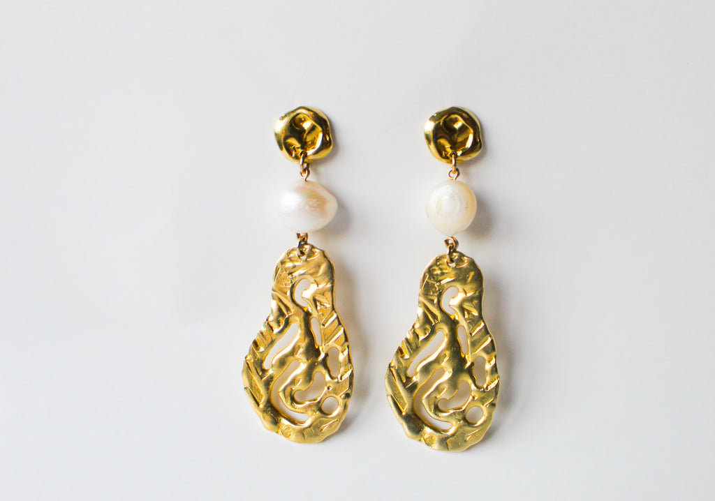 Earrings Melted Waves Gold Airdrops