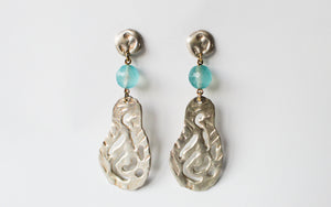 Earrings Melted Silver Airdrops - Aqua Crystal Stones