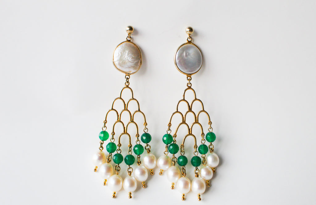 Earrings Tan Versailles Green