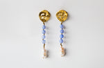 Earrings Tart Long Blue & Pearls