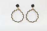Earrings Melted Zoanthus Hematite Hoops - Pyritio