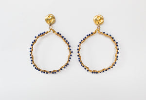 Earrings Melted Zoanthus Hematite Hoops - Blue