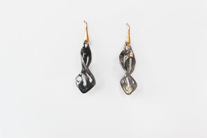 Earrings Twist Leaf Rhodium