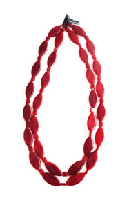 Red Resin Rhombus Necklace