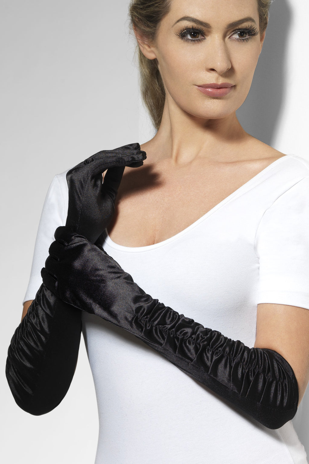 Temptress Long Black Gloves Ruched