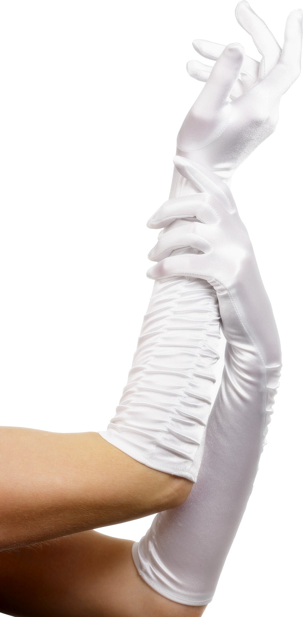 Temptress Long White Gloves Ruched