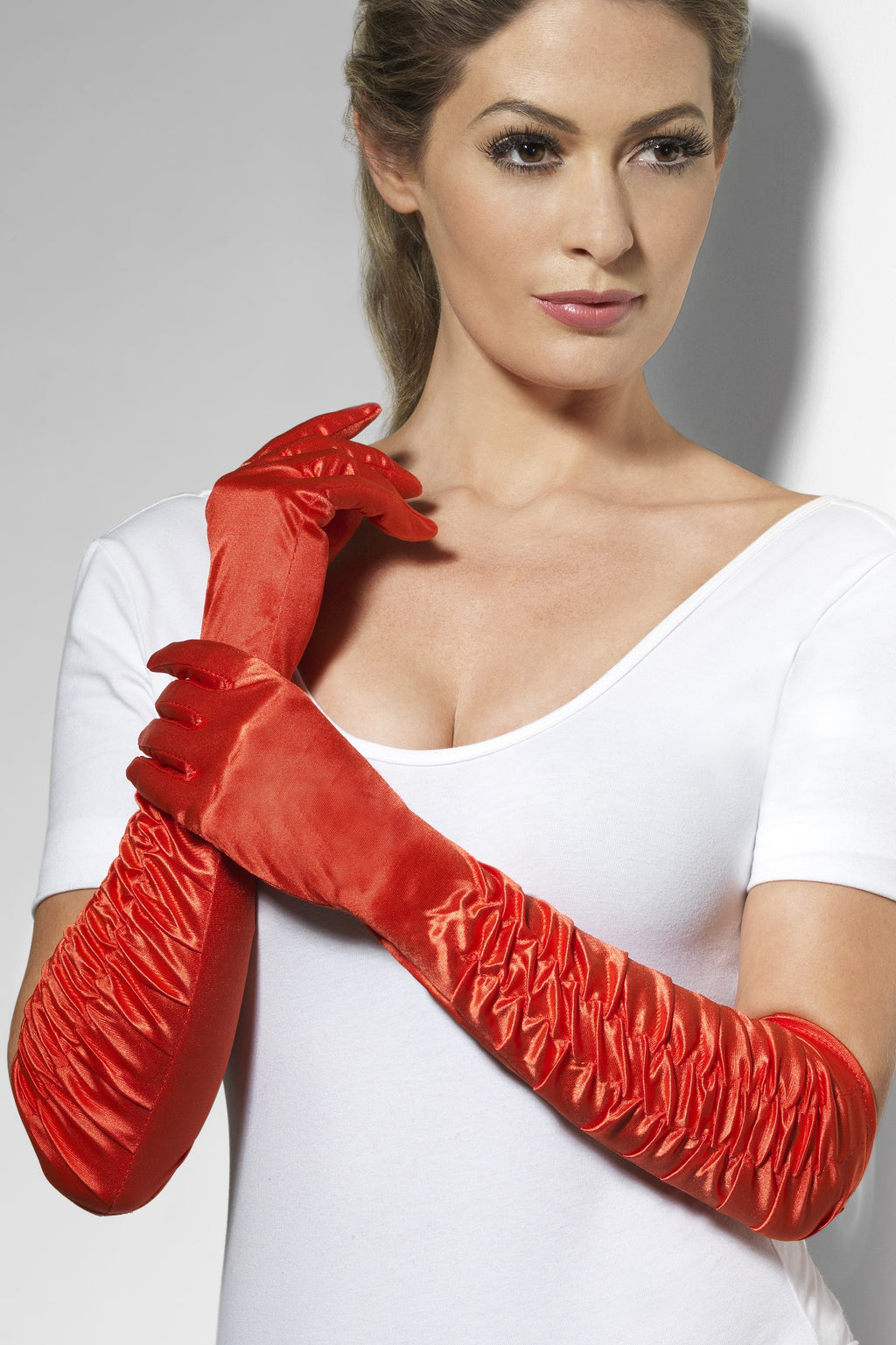 Temptress Long Red Gloves Ruched