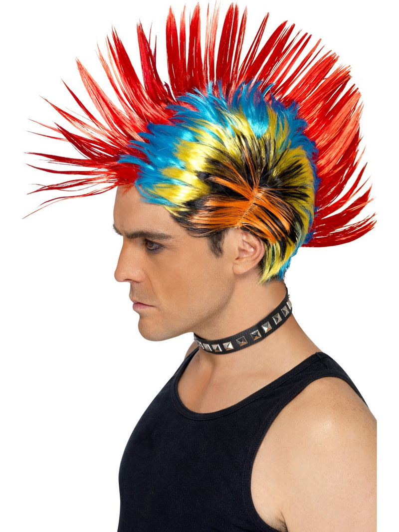 80'S Street Punk Wig, Mohawk,Multi-Coloured
