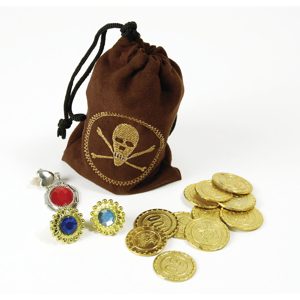 Coins, jewellery and pouch