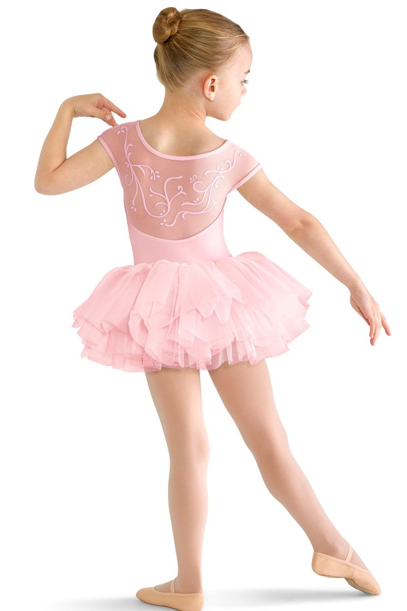 Block leotard with attached tu-tu skirt - back detail