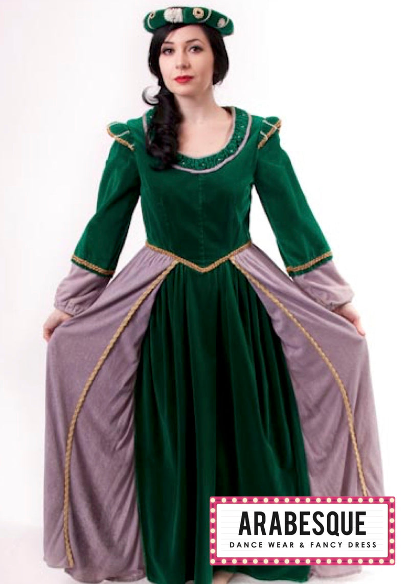 Green and Grey Elizabethan Dress