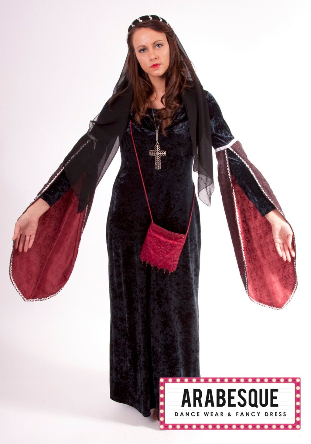 Ladies Black Medieval Dress