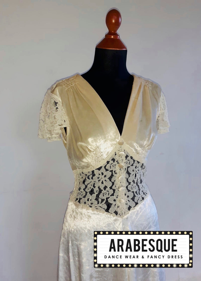 Ladies 1940's Cream Vintage Dress
