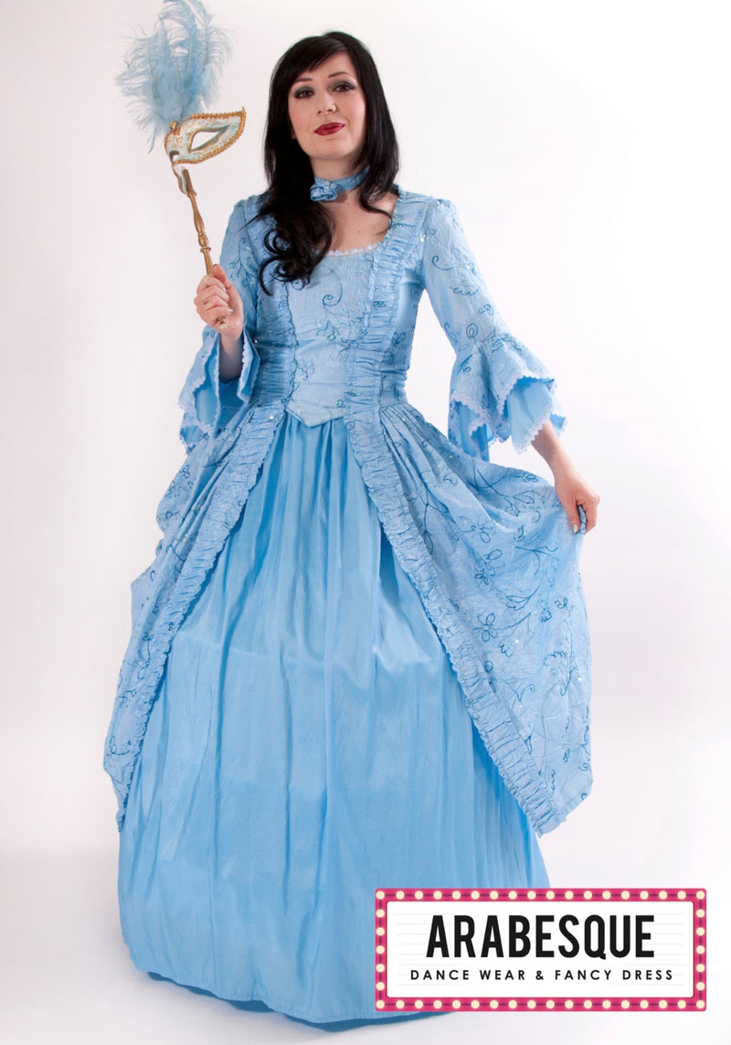 Marie Antoinette Costume: Long Blue Dress
