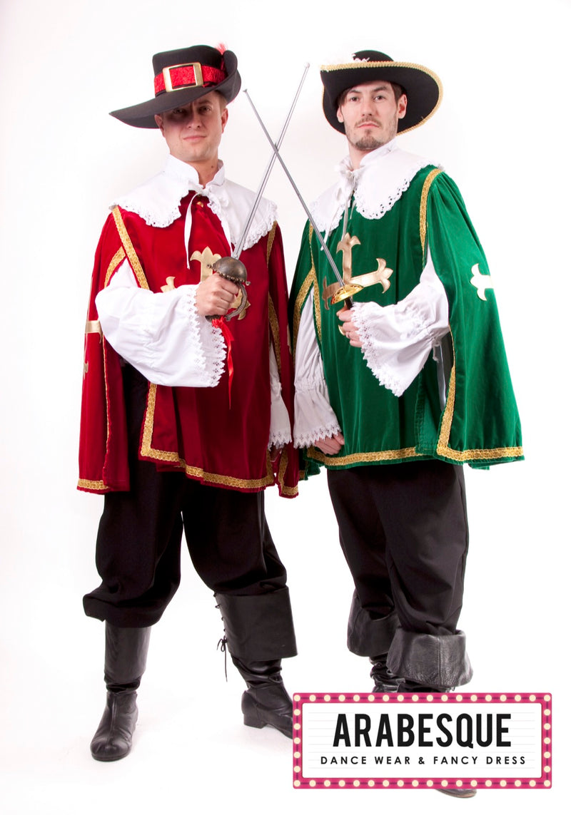 Mens Red Musketeer Hire Costume