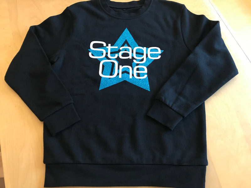 Stage One Beginners to Stage and Theatre School Sweatshirt Blue Star