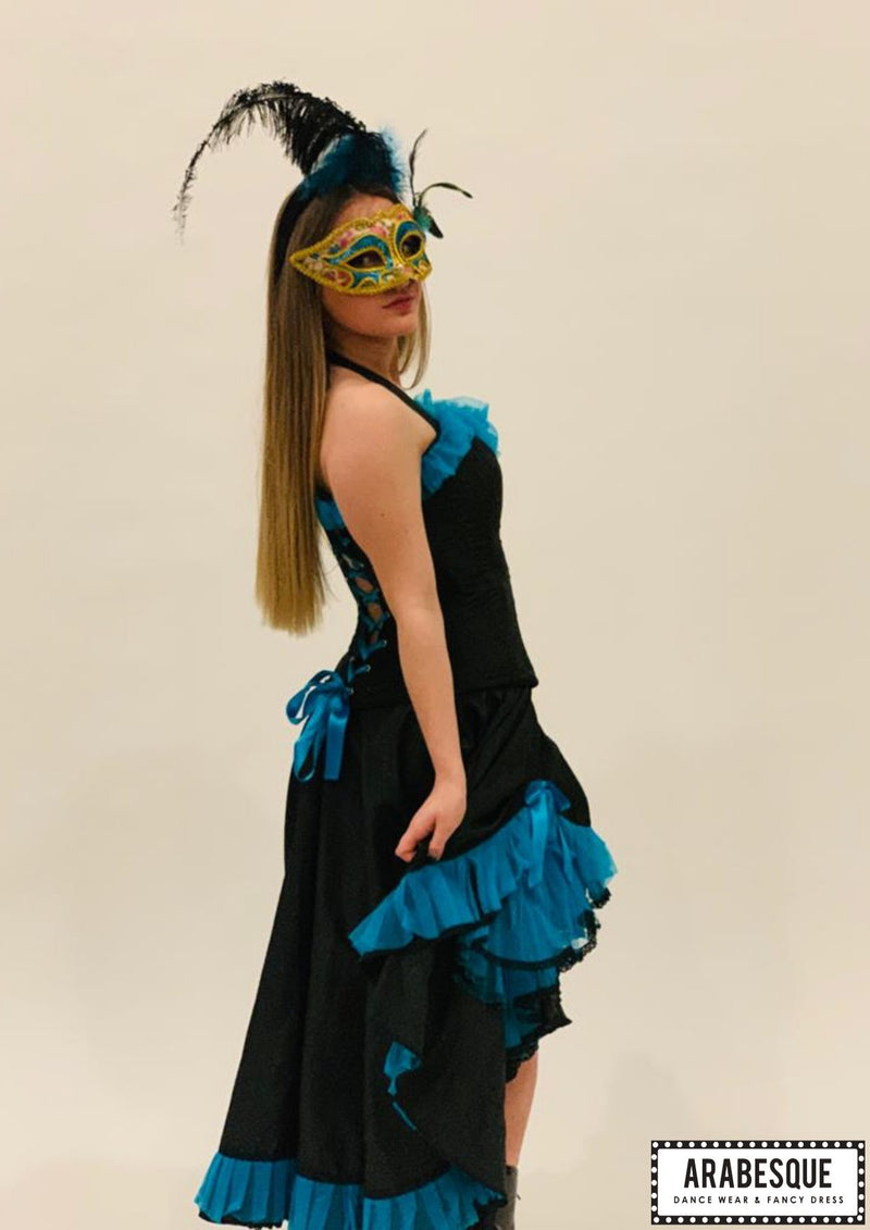Burlesque | Dancer | Mask | Turquoise | Black | Costume | Hire