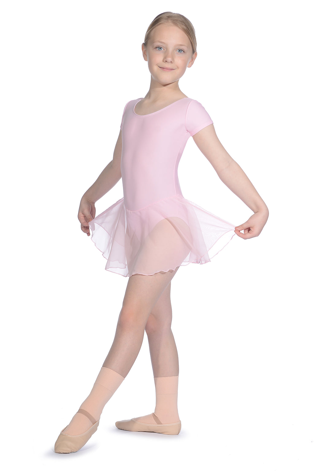 Roch Valley Leotard with attached skirt - pink - full length