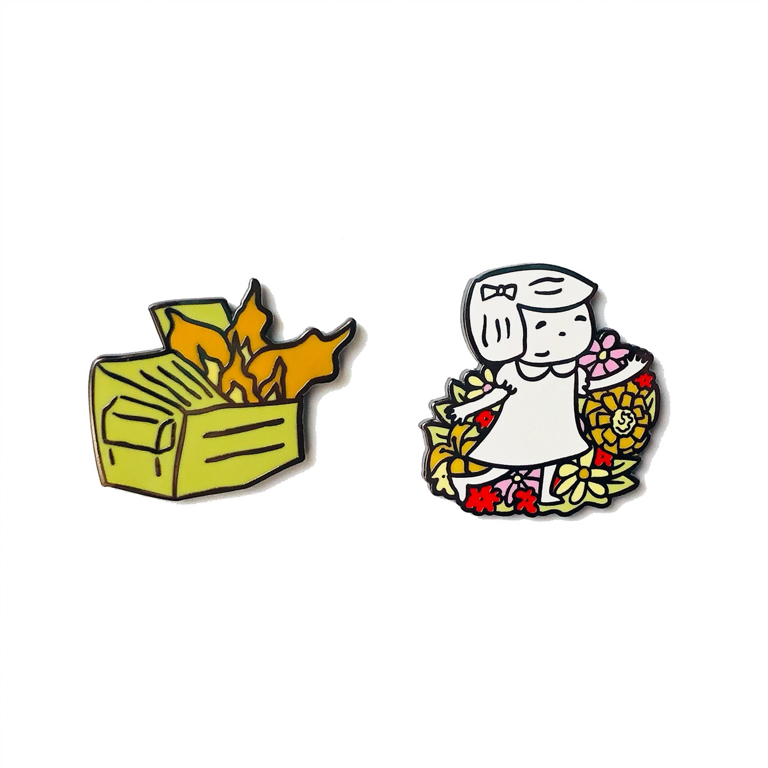 The Dumpster Fire and the Garden Enamel Pin Set