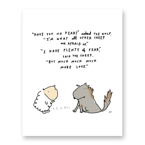 Wolf & Sheep More Love than Fear Print