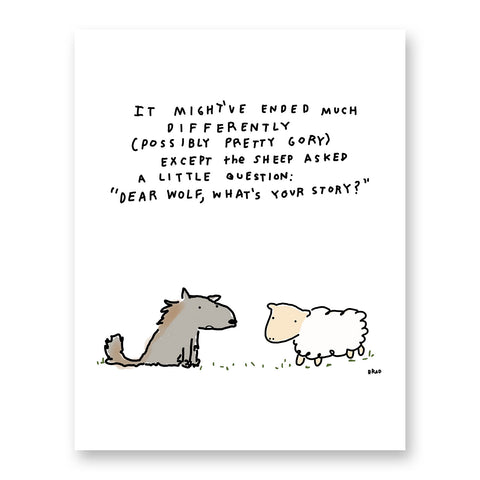 Wolf & Sheep What's Your Story? Print