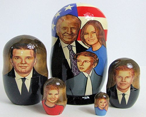 5pcs Handmade Russian Nesting Doll of President Trump & His Family (7.25 inches tall)