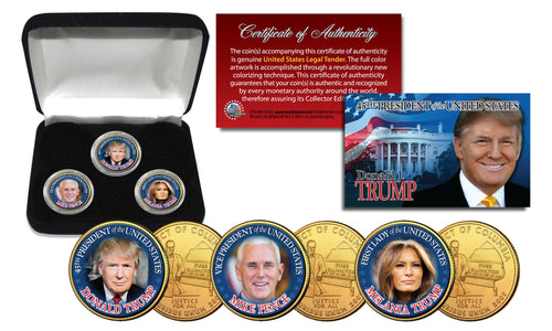 Donald Trump, Melania Trump & Mike Pence 24K Gold Quarter Set with Display Box