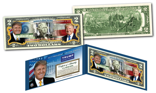 DONALD TRUMP 45th PresidentOFFICIAL U.S. $2 Bill