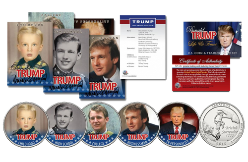 DONALD TRUMP 45th President 10 Piece * Life & Times * Ultimate U.S. Coin & Trading Card Collection