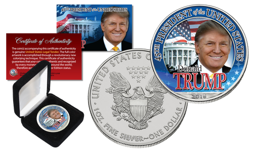 DONALD TRUMP 45th President 1 oz PURE SILVER EAGLE in Deluxe Gift Box