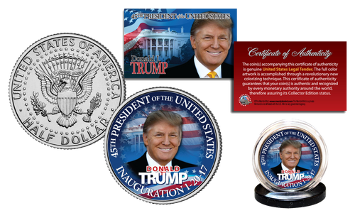 DONALD J. TRUMP Limited Colorized JFK Half Dollar U.S. Coin ** Limited Edition of 500 **