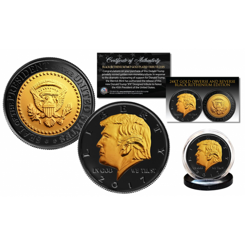 Donald Trump 45th President BLACK RUTHENIUM & 24K GOLD Clad OFFICIAL Tribute Coin