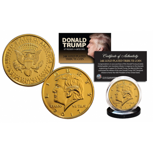 Donald Trump 2017 Inauguration 45th President Official 24K Gold Clad Tribute Coin