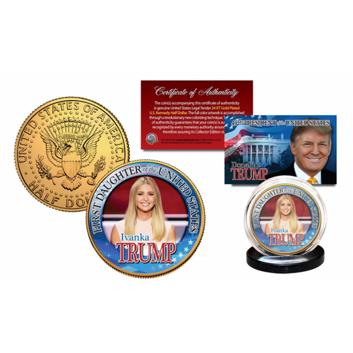 Ivanka Trump First Daughter 24K Gold Plated Half Dollar Coin
