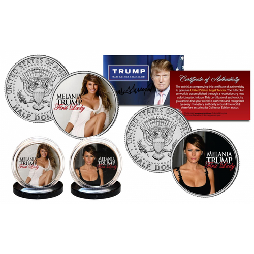 MELANIA TRUMP First Lady 2016 Official JFK Half Dollar 2-Coin Set