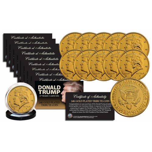 Donald Trump 2017 Inauguration 45th President of the United States 24K Gold Clad Tribute Coin Set
