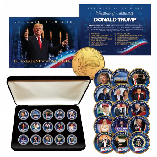 DONALD TRUMP Ultimate 15-Coin Colorized 24K Gold Quarter Set with Premium Display Box