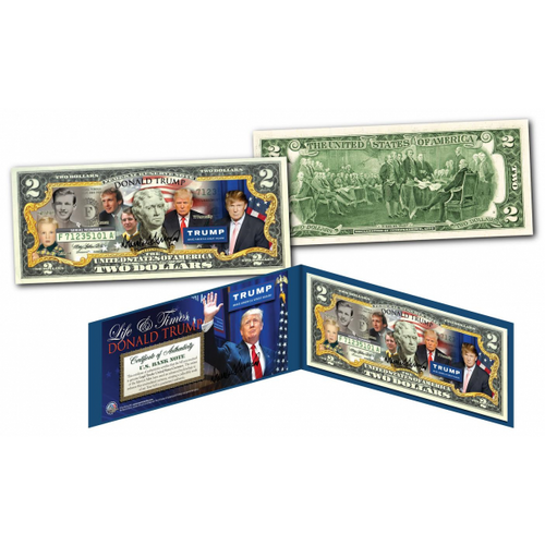 DONALD TRUMP 45th President * LIFE & TIMES * Colorized $2 Bill Currency