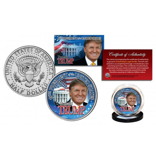 DONALD J. TRUMP 45th President JFK Half Dollar U.S. Coin WHITE HOUSE