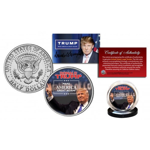 DONALD TRUMP * Make America Great Again * Colorized JFK Half Dollar U.S. Coin